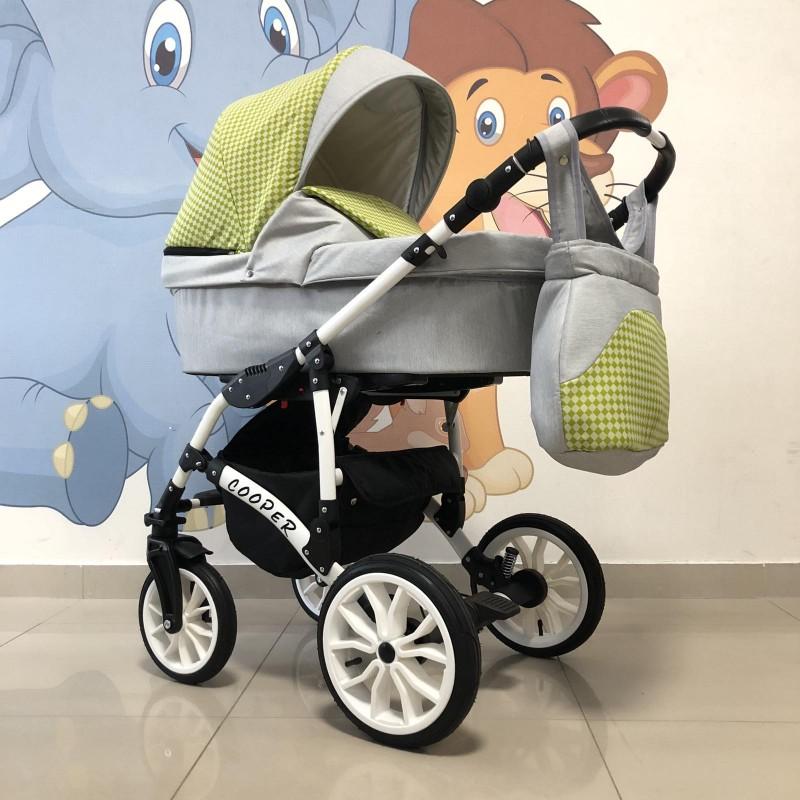 Бебешка количка Cooper 3в1: цвят: сив/зелени квадратчета