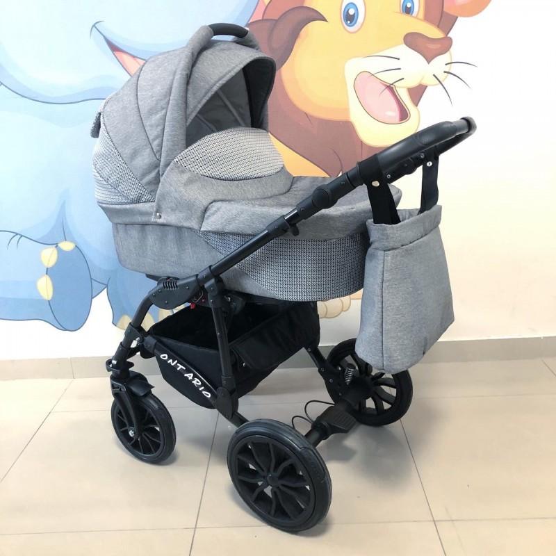 Бебешка количка Ontario 3в1: цвят: сив