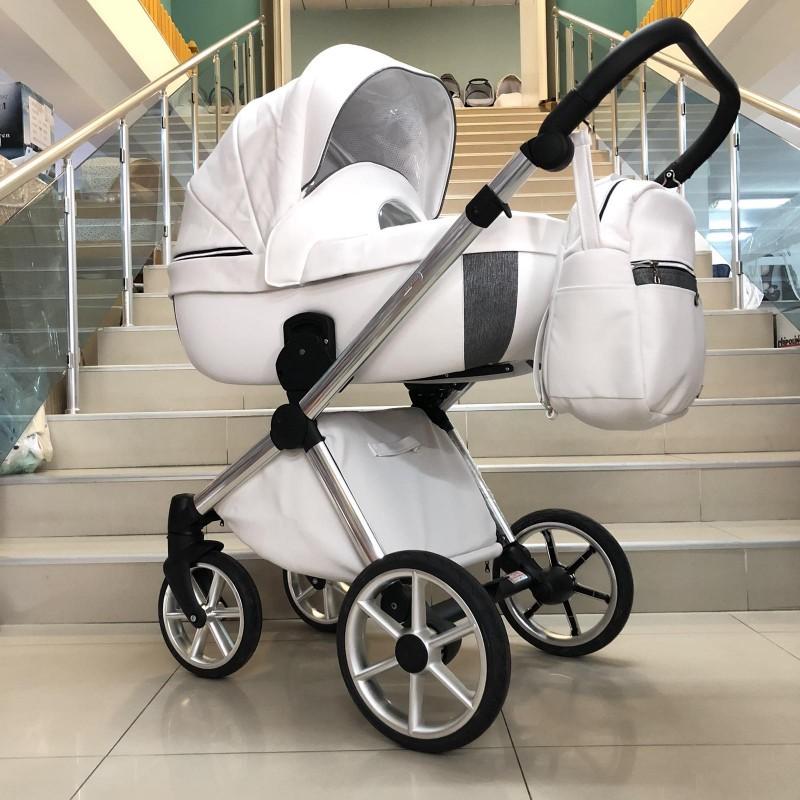 Бебешка количка Азуро 2в1: цвят: бял/сребърен