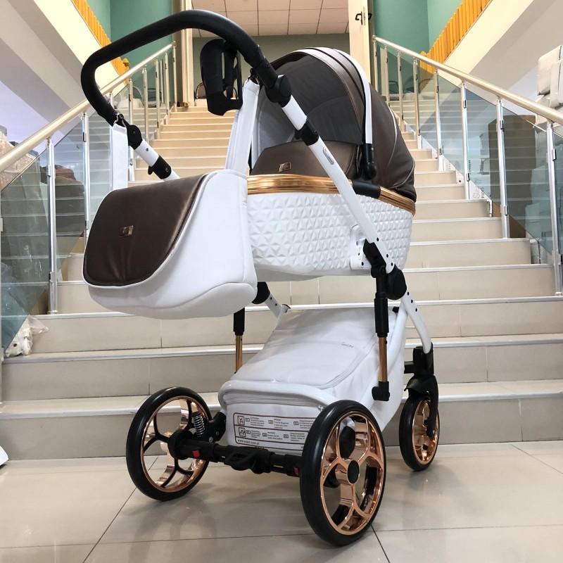 Бебешка количка Xsara 2в1: цвят: бял/капучино/медна рамка