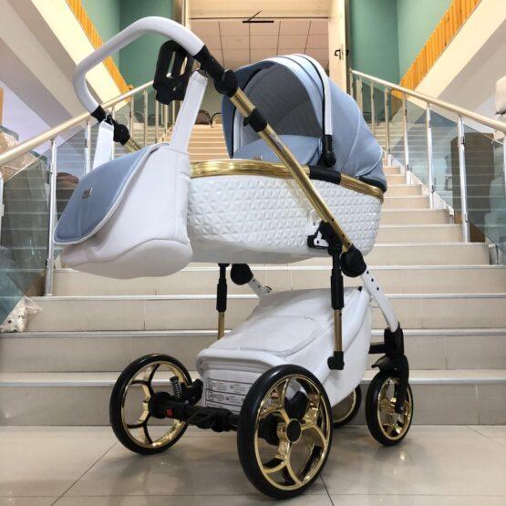 Бебешка количка Xsara 3в1: цвят: бял/светло-син