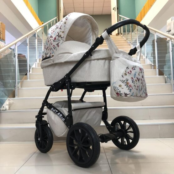 Бебешка количка Ontario 3в1: цвят: крем/шарки