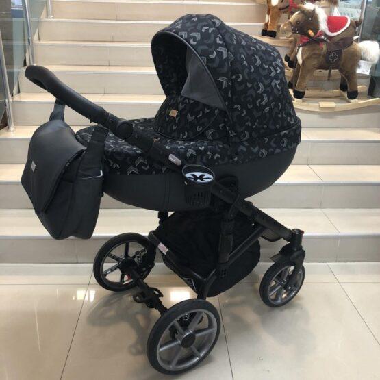 Бебешка количка Kuga 3в1: цвят: черен/шарки