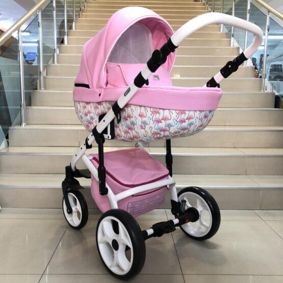 Бебешка количка Kuga 3в1: цвят: розов/фламинго