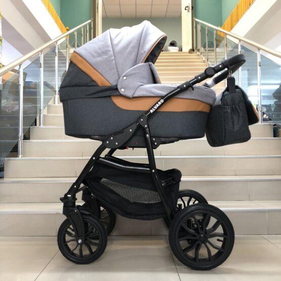 Бебешка количка Alvaro 2в1; цвят: графит/кайсия/сив