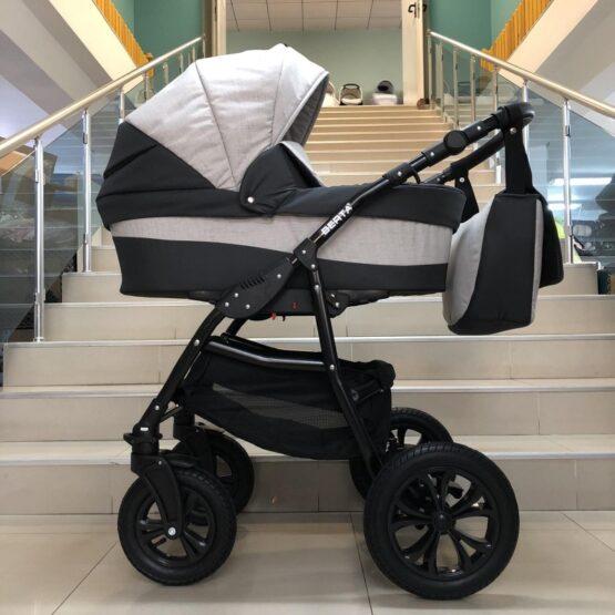 Бебешка количка Berta 2в1; цвят: сив/бял