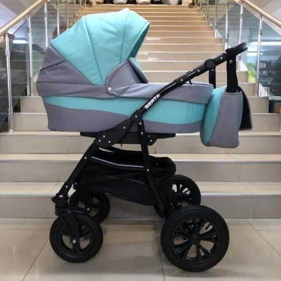 Бебешка количка Berta 2в1; цвят: мента/сив