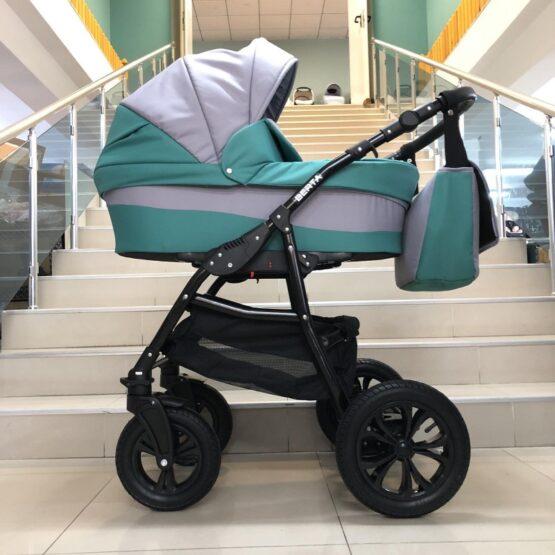 Бебешка количка Berta 2в1; цвят: малахит/сив