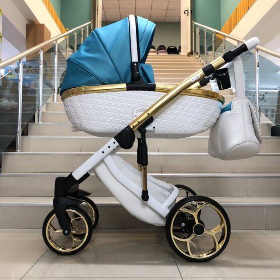 Бебешка количка Xsara 3в1: цвят: аквамарин/бял