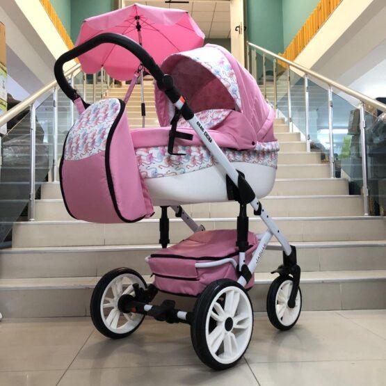 Бебешка количка Jaguar 2в1 + чадърче : цвят: розов/фламинго