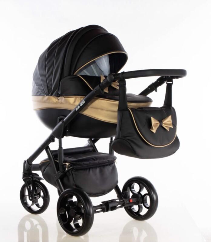 Бебешка количка Versay панделка 2в1: цвят: черен/златен