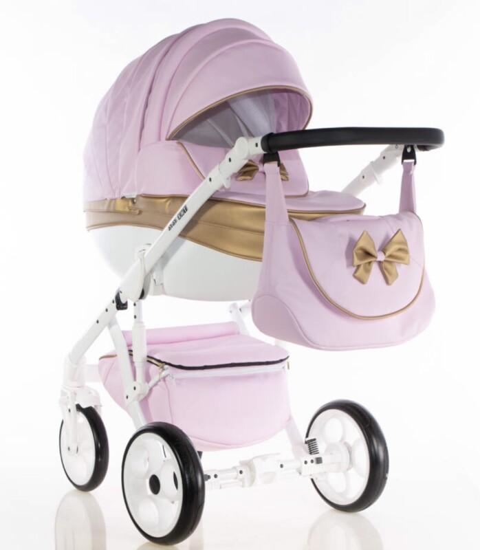 Бебешка количка Versay панделка 3в1: цвят: розов/златен