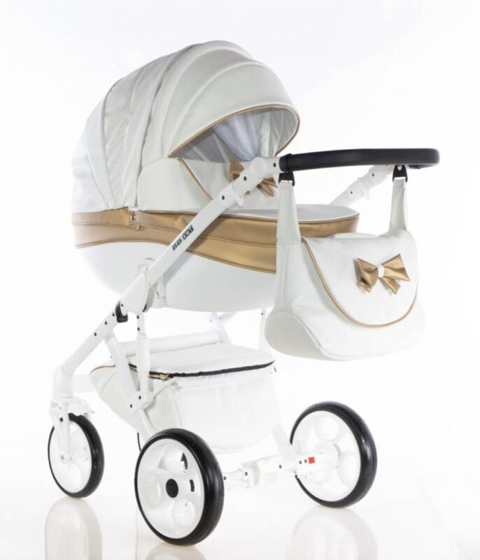 Бебешка количка Versay панделка 2в1: цвят: бял/златен