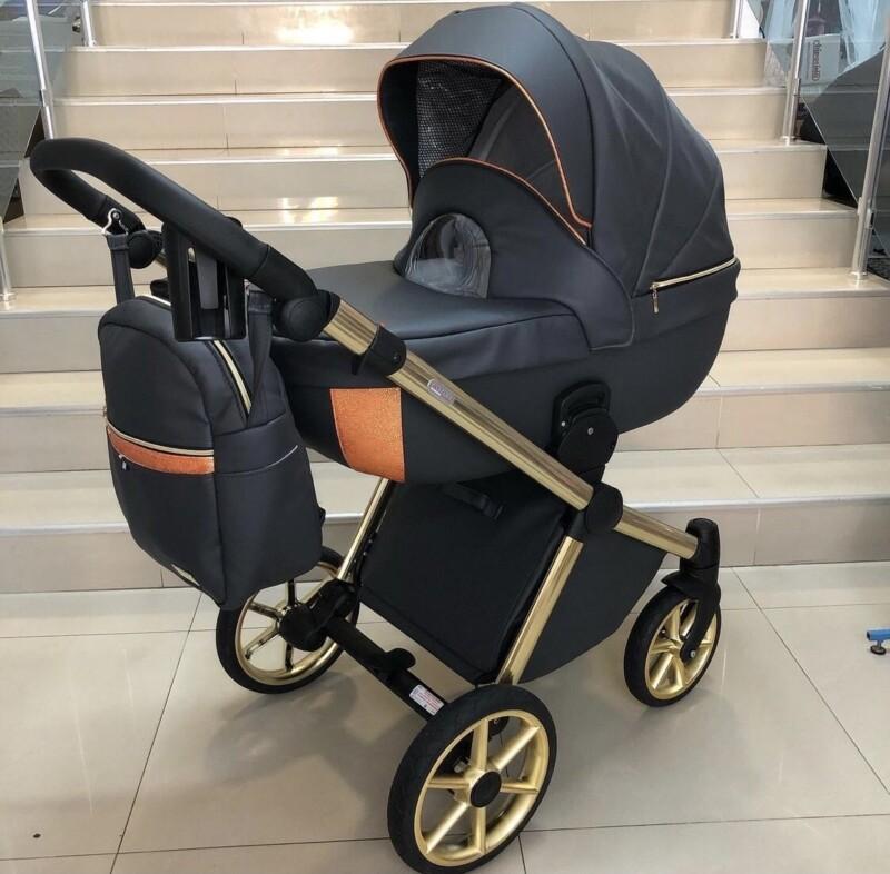 Бебешка количка Азуро 2в1: цвят: тъмно сив/оранжев